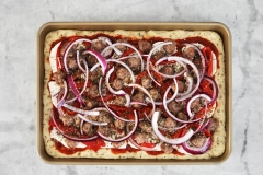 Sausage, roasted red peppers & red onions