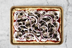 Salami, red onions & black olives