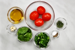 Pesto ingredients & tomatoes