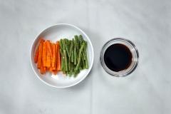 Roasted vegetables and teriyaki tare
