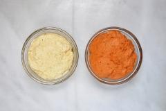 Parmesan-garlic and tomato doughs